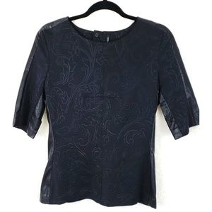 Walter Baker Black Carved Detail Faux Leather Top